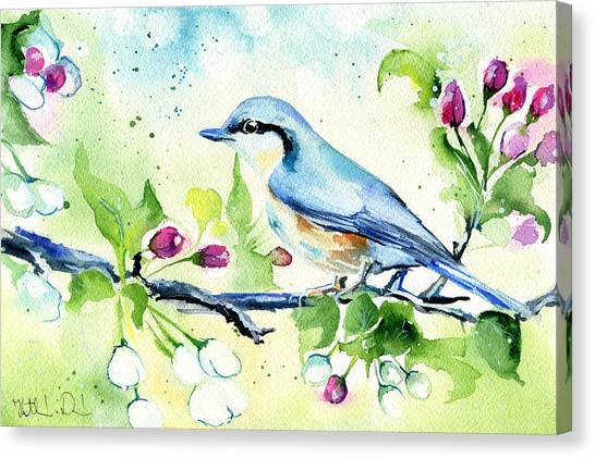 Little Blue Spring Bird Canvas Print
