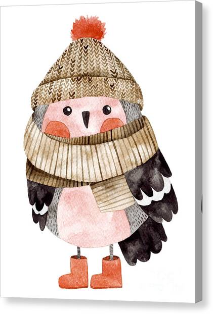 Illustration Canvas Print - Little Cute Bullfinch With Winter Hat by Maria Sem