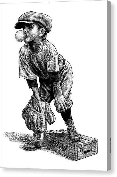 Canvas Print featuring the drawing Little Leaguer by Clint Hansen