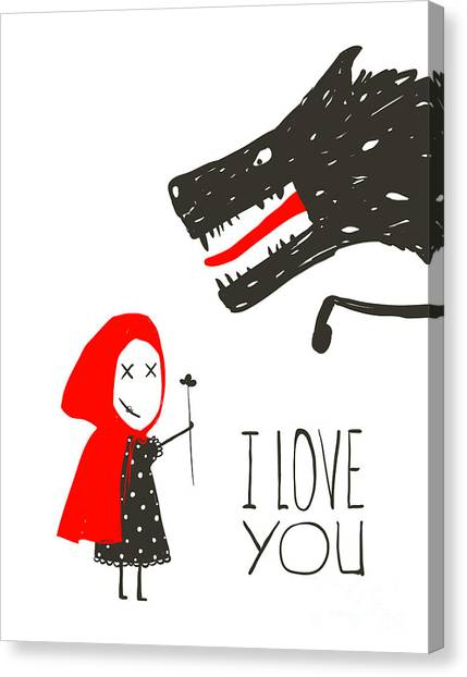 Presents Canvas Print - Little Red Riding Presenting Flower To by Popmarleo