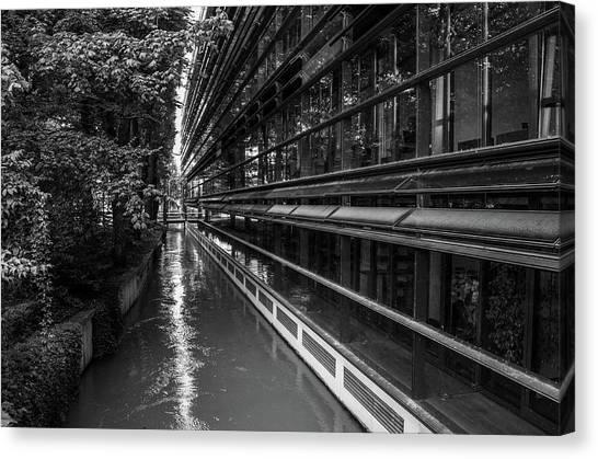 Little River, Big Building Canvas Print