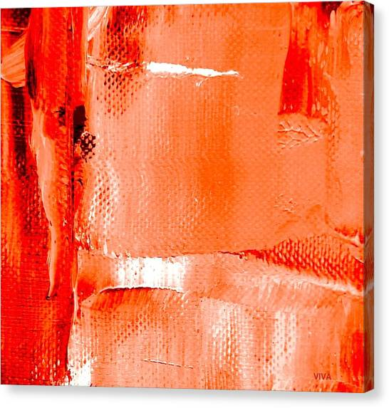 Canvas Print featuring the painting Living Coral Spectrum Abstract by VIVA Anderson