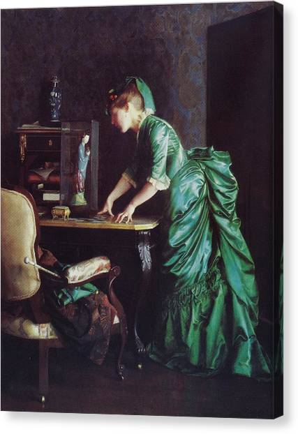 Lizzy Young In Green Canvas Print