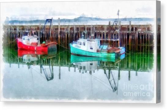 Prince Edward Island Canvas Print - Lobster Boats Prince Edward Island Watercolor by Edward Fielding