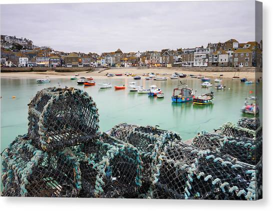 St Ives Canvas Print - Lobster Pots On The Harbour Wall At St by Adam Burton