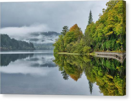 Canvas Print featuring the photograph Loch Ard In Scotland by Jeremy Lavender Photography