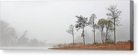 Canvas Print featuring the photograph Loch Ard Misty Autumn Morning by Grant Glendinning