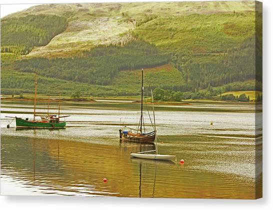 Loch Leven. The Boats At Ballachulish Canvas Print