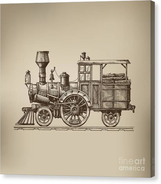 Old Train Canvas Print - Locomotive. Vector Format by Ava Bitter