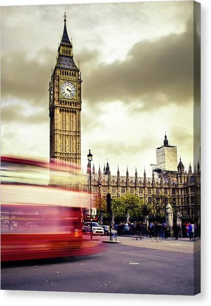 London Double Decker Bus Near Big Ben Canvas Print