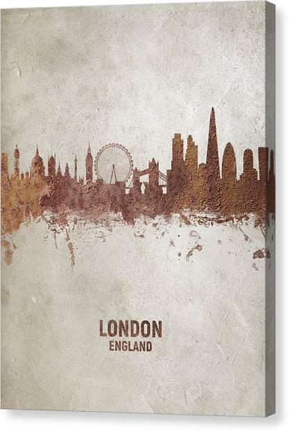 London Skyline Canvas Print - London England Rust Skyline by Michael Tompsett