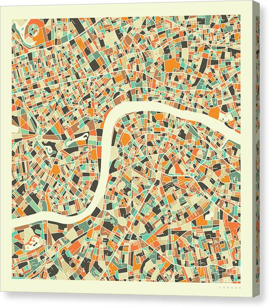 Map Canvas Print - London Map 1 by Jazzberry Blue