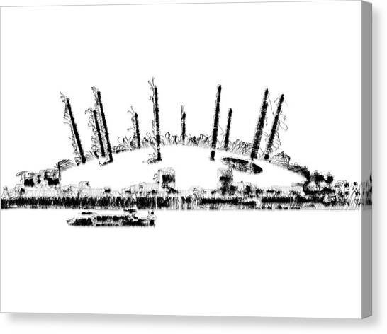 Canvas Print featuring the digital art London O2 Arena by ISAW Company