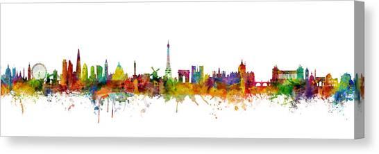Paris Skyline Canvas Print - London, Paris And Rome Skylines Mashup by Michael Tompsett