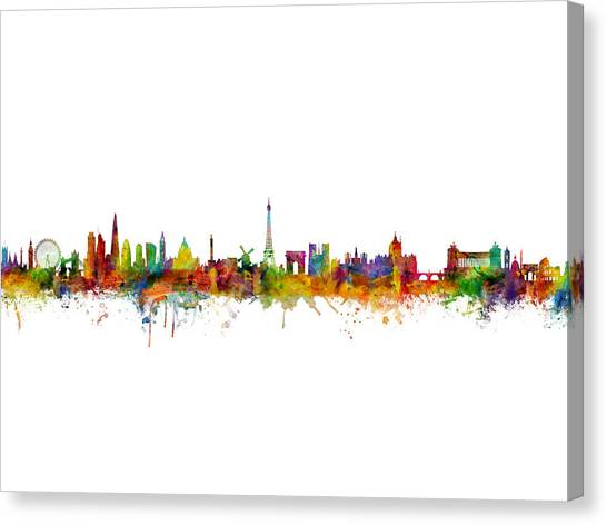 Rome Canvas Print - London, Paris And Rome Skylines by Michael Tompsett