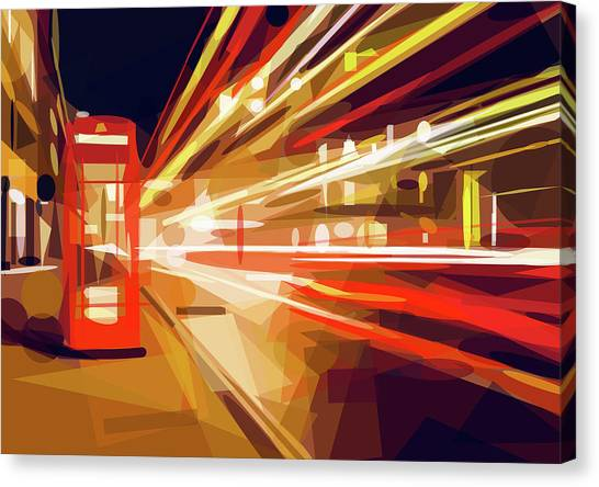 Canvas Print featuring the digital art London Phone Box by ISAW Company