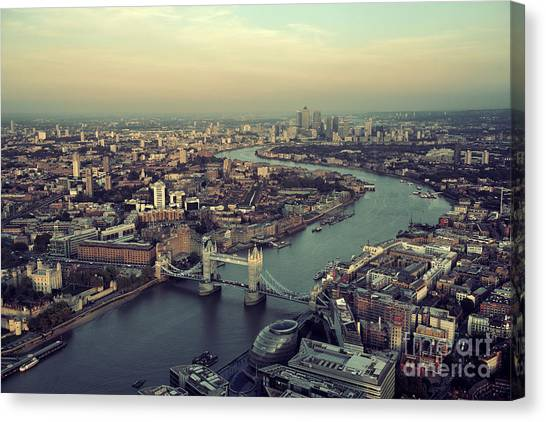 British Canvas Print - London Rooftop View Panorama At Sunset by Songquan Deng