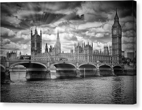 Palace Of Westminster Canvas Print - London Westminster Bridge Sunrays - Monochrome by Melanie Viola