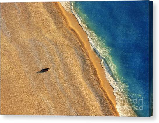 No-one Canvas Print - Lonely Boat On A Beach With Aerial View by Astrostar