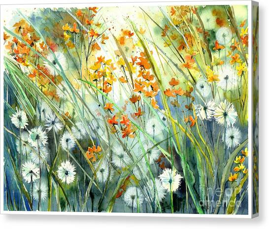 Cosmos Flower Canvas Print - Lonely End Of The Summer by Suzann's Art
