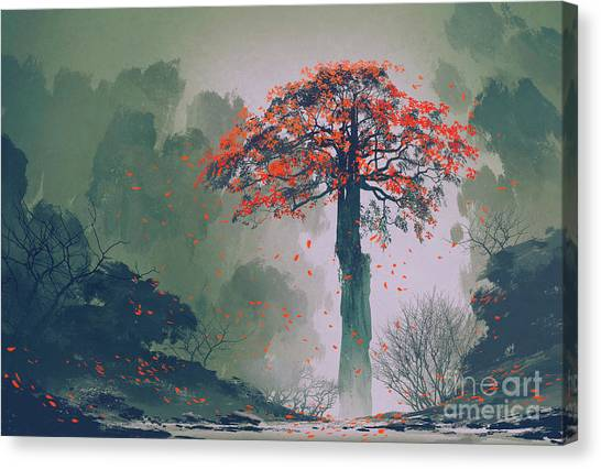 Lonely Red Autumn Tree With Falling Canvas Print by Tithi Luadthong