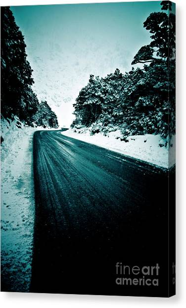 Lonely Road In The Countryside For A Car Trip And Disconnect From Stress Canvas Print