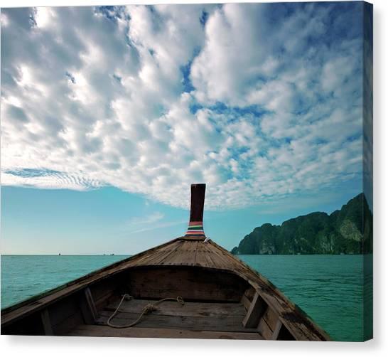 Phi Phi Island Canvas Print - Long Boat In Andaman Sea by Sharon Lapkin