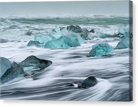 Long Exposure At The Jokulsarlon Ice Beach Canvas Print