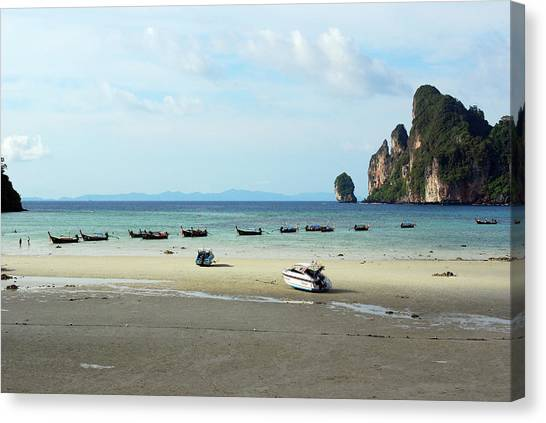 Phi Phi Island Canvas Print - Long Tail Boats In Bay Of Phi Phi by Thepurpledoor
