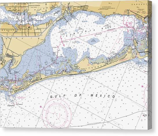 Longboat Ket Florida Noaa Nautical Chart Canvas Print