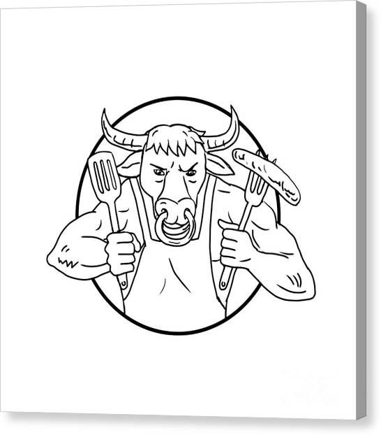 Cookout Canvas Print - Longhorn Bull Holding Barbecue Sausage Drawing Black And White by Aloysius Patrimonio