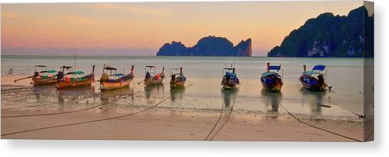 Phi Phi Island Canvas Print - Longtail Boats On Beach At Sunset by Image By Ben Engel