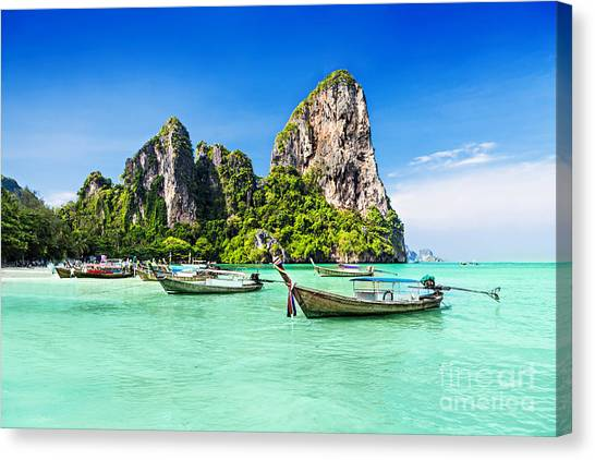 View Canvas Print - Longtale Boats At The Beautiful Beach by Saiko3p