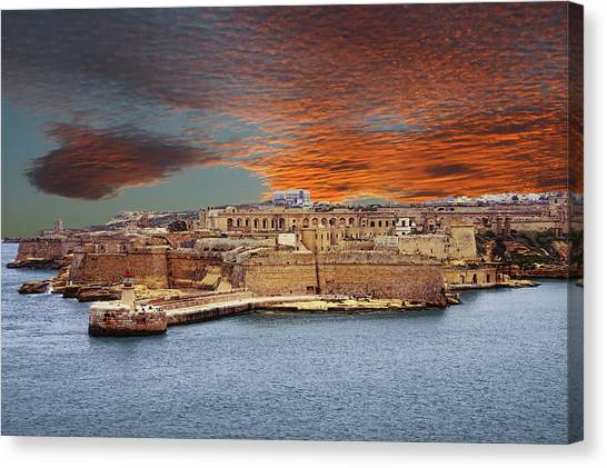 Looking Across Harbor From Fort St Elmo To  Fort Rikasoli Canvas Print