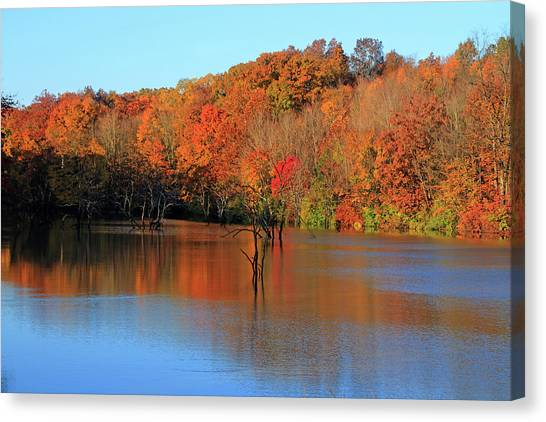 Canvas Print featuring the photograph Looking Out Over Alum Creek by Angela Murdock