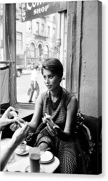 Loren In New York Cafe Canvas Print