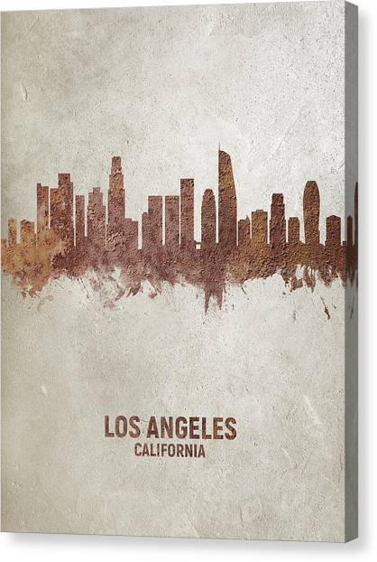 Los Angeles Skyline Canvas Print - Los Angeles California Rust Skyline by Michael Tompsett