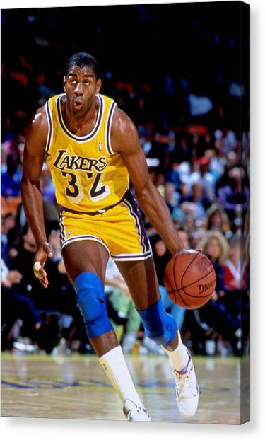 Magic Johnson Canvas Print - Los Angeles Lakers Magic Johnson by Andy Hayt