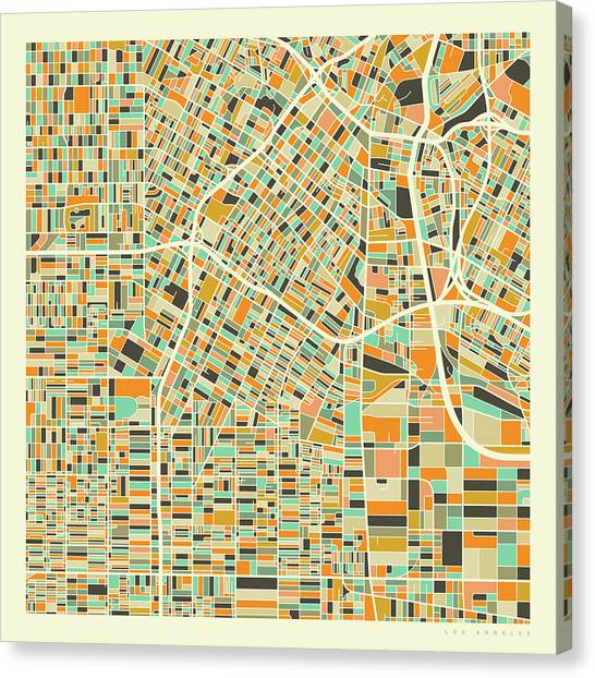 California Canvas Print - Los Angeles Map 1 by Jazzberry Blue