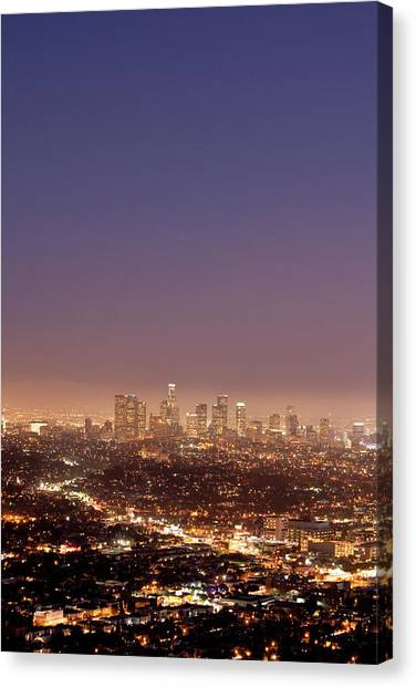 Los Angeles Skyline At Twilight Canvas Print by Uschools