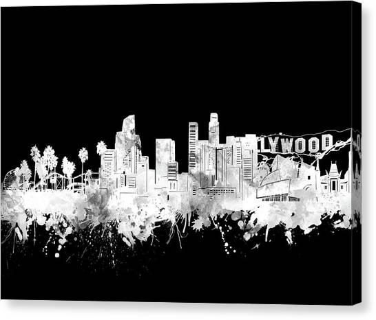 Los Angeles Skyline Canvas Print - Los Angeles Skyline Black And White 2 by Bekim Art