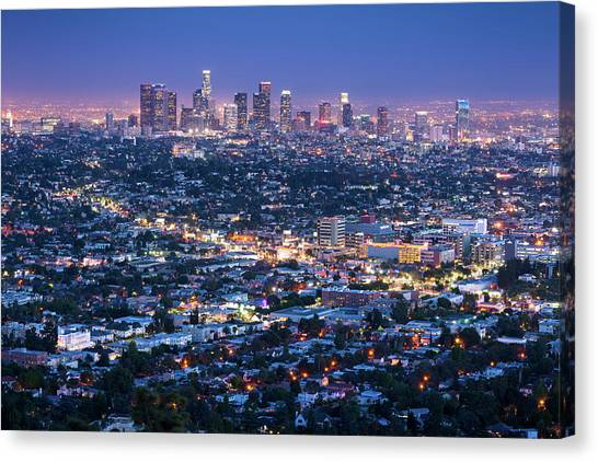 Los Angeles Skyline Cityscape At Dusk Canvas Print by Chrishepburn