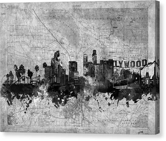 Los Angeles Skyline Canvas Print - Los Angeles Skyline Vintage 2 by Bekim Art