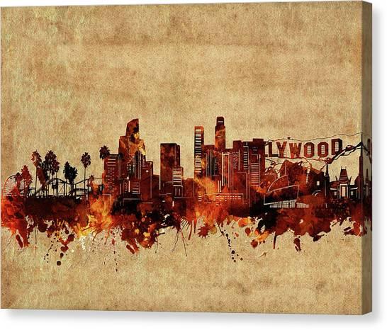 Los Angeles Skyline Canvas Print - Los Angeles Skyline Vintage by Bekim Art