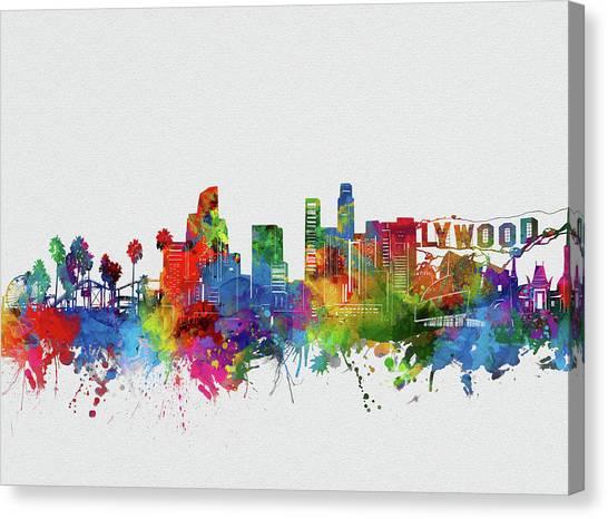 Los Angeles Skyline Canvas Print - Los Angeles Skyline Watercolor 2 by Bekim Art