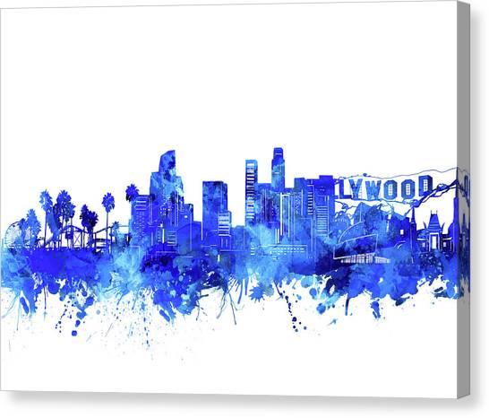 Los Angeles Skyline Canvas Print - Los Angeles Skyline Watercolor Blue by Bekim Art