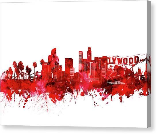 Los Angeles Skyline Canvas Print - Los Angeles Skyline Watercolor Red by Bekim Art