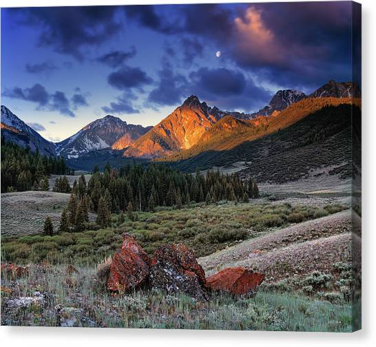 Idaho Canvas Print - Lost River Mountains Moon by Leland D Howard
