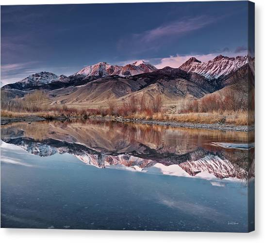 Lost River Range Winter Reflection Canvas Print by Leland D Howard