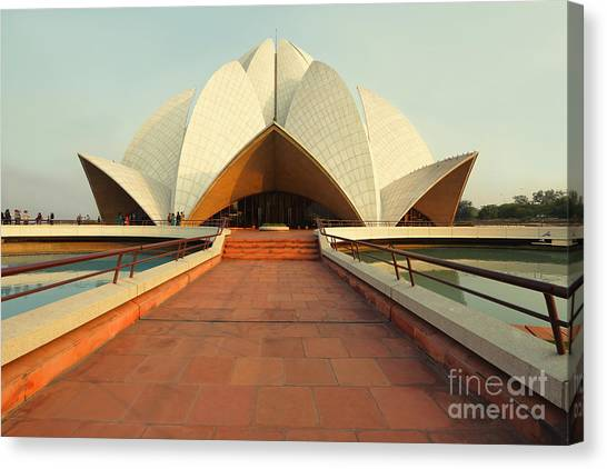 Worship Canvas Print - Lotus Temple, New Delhi, India by Nadezda Murmakova